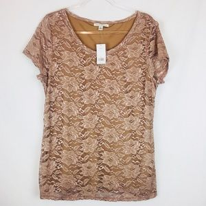 Banana Republic | Lace Crew Neck T-Shirt Size XL